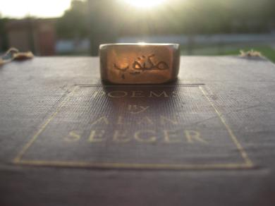 my 'Maktoob' ring inspired by the Poetry of Alan Seeger Photo by Quinten Rhea